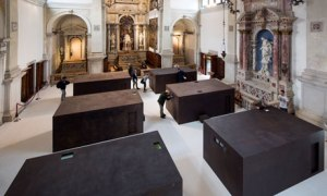 A wide shot of Ai Weiwei's sacred, inside the church of Sant'Antonin in Venice.
